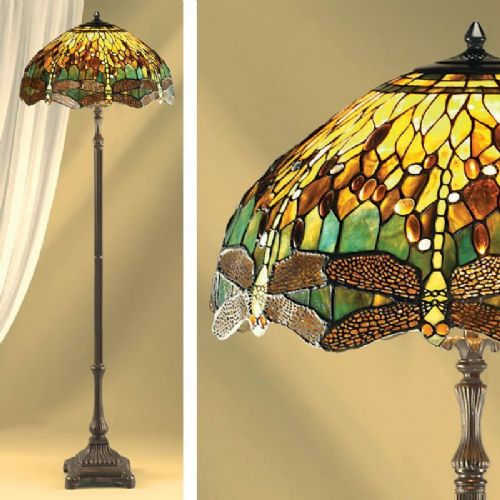 Green Dragonfly Floor Lamp (Nature, Tiffany Studio, Traditional, Floor Lamp) TP1F (Tiffany style)